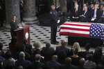 The flag-draped casket of Rep. Elijah Cummings, D-Md., lies in state in the  Capitol, Thursday, Oct. 24, 2019 in Washington. (Alex Wong/Pool via AP)