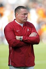 Former Tennessee head football coach Butch Jones watches before an NCAA college football game against Tennessee Saturday, Oct. 20, 2018, in Knoxville, Tenn. (AP Photo/Wade Payne)