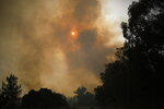 Smoke rises as a wildfire rages near Kibbutz Harel, Israel Thursday, May 23, 2019. Israeli police have ordered the evacuation of several communities in southern and central Israel as wildfires rage amid a major heatwave. (AP Photo/Ariel Schalit)