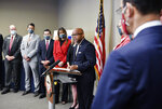 Denver Mayor Michael Hancock speaks during a press conference announcing the statewide allocation of settlement dollars from major opioid companies at the Ralph L. Carr Colorado Judicial Center on Thursday, Aug. 26, 2021 in Denver. (Eric Lutzens/The Denver Post via AP)