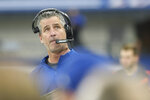 Indianapolis Colts head coach Frank Reich looks at a replay during the first half of an NFL football game against the Jacksonville Jaguars, Sunday, Nov. 17, 2019, in Indianapolis. (AP Photo/AJ Mast)