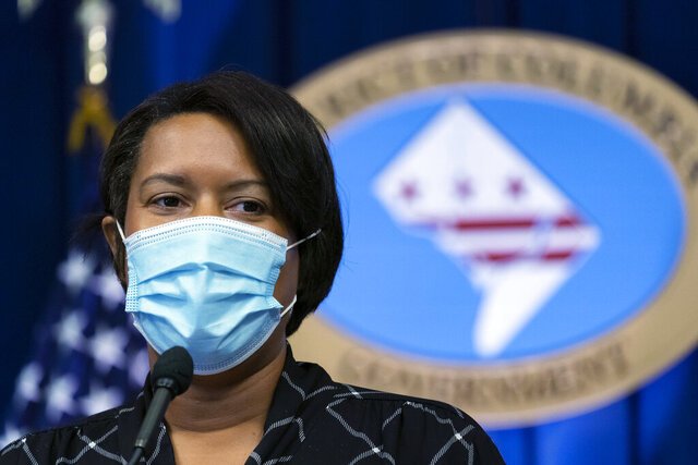 District of Columbia Mayor Muriel Bowser speaks during a press briefing Monday, Sept. 14, 2020, in Washington. (AP Photo/Alex Brandon)