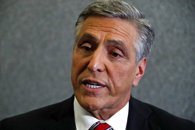 FILE - This Oct. 26, 2018 file photo shows Lou Barletta in the studio of KDKA-TV in Pittsburgh. Barletta, a former congressman seeking the Republican nomination for governor of Pennsylvania, said on Twitter that he was proud to sign a pledge from a conservative anti-tax Washington-based group that commits him to oppose tax increases. (AP Photo/Gene J. Puskar, File)