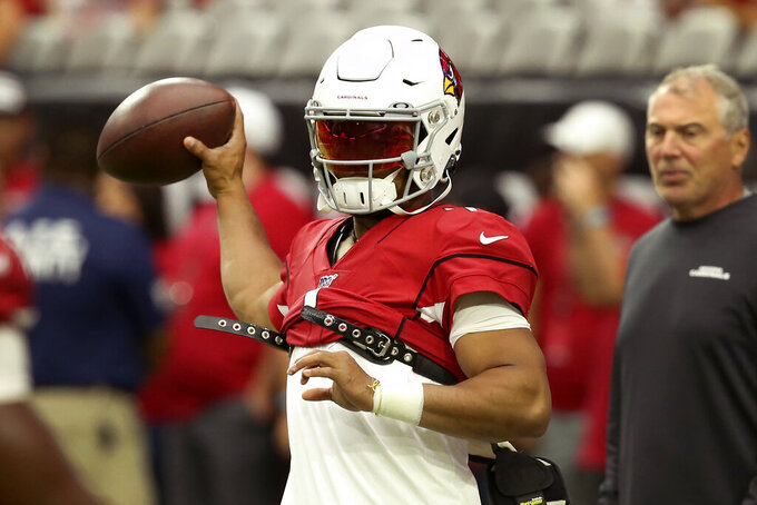 Arizona Cardinals quarterback Kyler Murray warms up prior to an NFL football game against the Carolina Panthers, Sunday, Sept. 22, 2019, in Glendale, Ariz. (AP Photo/Ross D. Franklin)