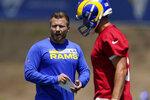 Los Angeles Rams head coach Sean McVay, left, talks to quarterback Matthew Stafford during an NFL football practice Tuesday, June 8, 2021, in Thousand Oaks, Calif. (AP Photo/Mark J. Terrill)