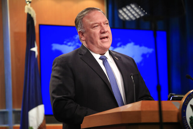Secretary of State Mike Pompeo speaks during a news conference at the State Department in Washington, Wednesday, Aug. 5, 2020. (AP Photo/Pablo Martinez Monsivais, Pool)