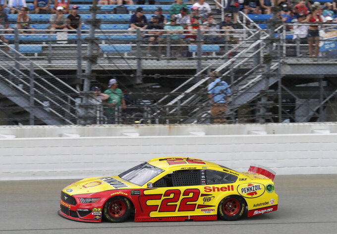 Joey Logano drives during a NASCAR Cup Series auto race at Chicagoland Speedway in Joliet, Ill., Sunday, June 30, 2019. (AP Photo/Nam Y. Huh)