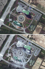 This combination of May 29, 2020 and June 22, 2020, satellite images provided by Maxar Technologies shows before, top, and after a demolition of an inter-Korean liaison office building at a shuttered joint industrial park in Kaesong, North Korea. The North blew up the liaison office building just north of the heavily armed border with South Korea on June 16, 2020 in a carefully choreographed, largely symbolic display of anger. (Maxar Technologies via AP)