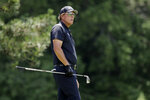 Phil Mickelson looks at his tee shot from the fifth hole during the final round of the Travelers Championship golf tournament at TPC River Highlands, Sunday, June 28, 2020, in Cromwell, Conn. (AP Photo/Frank Franklin II)