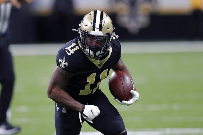 New Orleans Saints wide receiver Deonte Harris (11) carries in the first half of an NFL football game against the Arizona Cardinals in New Orleans, Sunday, Oct. 27, 2019. (AP Photo/Bill Feig)
