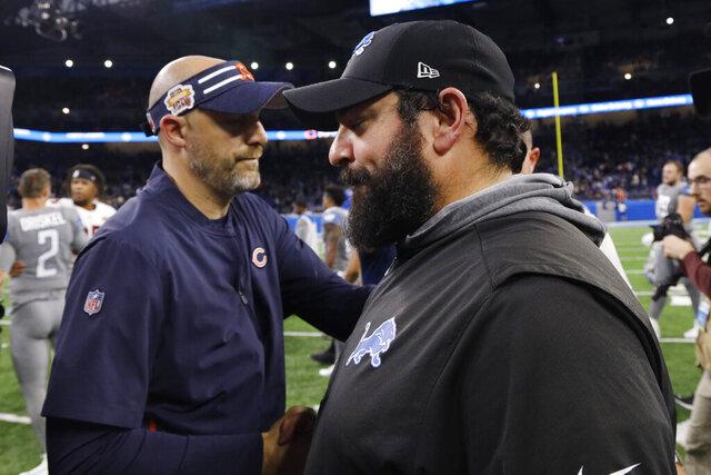 Chicago Bears head coach Matt Nagy, left, meets with Detroit Lions head coach Matt Patricia after an NFL football game, Thursday, Nov. 28, 2019, in Detroit. (AP Photo/Rick Osentoski)