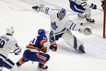 Toronto Maple Leafs goaltender Frederik Andersen (31) stops a shot on goal by New York Islanders' Derick Brassard (10) during the third period of an NHL hockey game Wednesday, Nov. 13, 2019, in Uniondale, N.Y. The Islanders won 5-4. (AP Photo/Frank Franklin II)