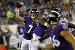 Baltimore Ravens' Trace McSorley (7) passes during the first half of a preseason NFL football game against the Philadelphia Eagles, Thursday, Aug. 22, 2019, in Philadelphia. (AP Photo/Michael Perez)