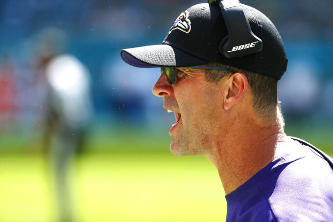 Baltimore Ravens head coach John Harbaugh yells from the sidelines, during the second half at an NFL football game against the Miami Dolphins, Sunday, Sept. 8, 2019, in Miami Gardens, Fla. (AP Photo/Wilfredo Lee)