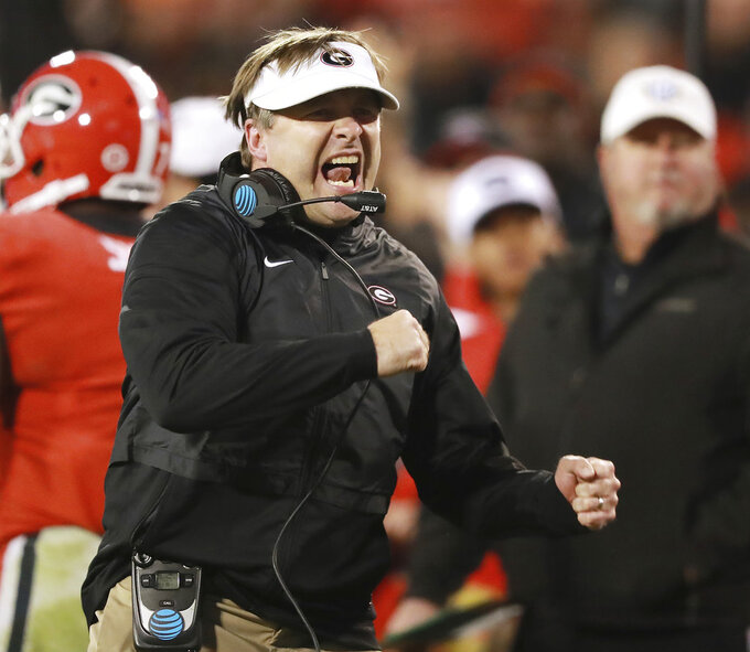 Georgia head coach Kirby Smart reacts after wide receiver Terry Godwin broke away for a 37-yard touchdown catch against Auburn during the second quarter of an NCAA college football game on Saturday, Nov. 10, 2018, in Athens, Ga. (Curtis Compton/Atlanta Journal-Constitution via AP)