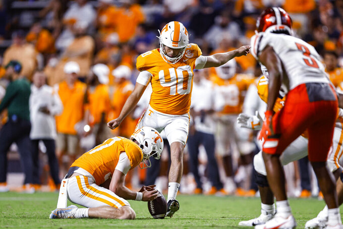 Tennessee's Chase McGrath (40) kicks a field goal as Michael Bittner holds during the second half of the team's NCAA college football game against Bowling Green on Thursday, Sept. 2, 2021, in Knoxville, Tenn. (AP Photo/Wade Payne)