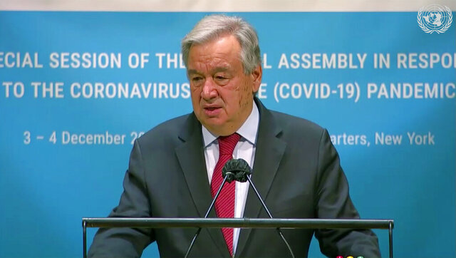 In this image made from UNTV video, United Nations Secretary General Antonio Guterres speaks during the U.N. General Assembly's special session to discuss the response to COVID-19 and the best path to recovery from the pandemic, Thursday, Dec. 3,2020, at U.N. headquarters, in New York. (UNTV via AP)