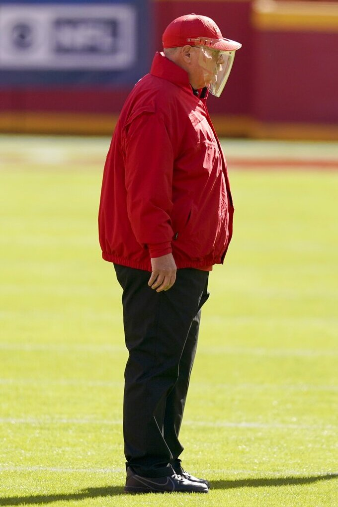 Kansas City Chiefs head coach Andy Reid watches warmups before an NFL football game against the New York Jets on Sunday, Nov. 1, 2020, in Kansas City, Mo. (AP Photo/Charlie Riedel)