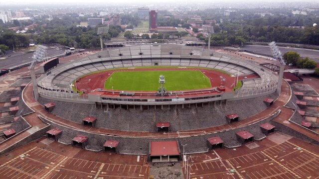 The Olympic Stadium stands empty as Mexico City faces its lockdown to help slow the spread of the new coronavirus, Sunday, May 17, 2020. (AP Photo/Christian Palma)