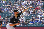 Chicago White Sox starting pitcher Carlos Rodon throws against the Minnesota Twins during the first inning of a baseball game in Chicago, Thursday, July 1, 2021. (AP Photo/Nam Y. Huh)