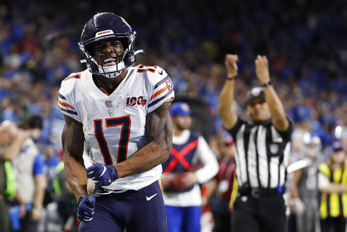 Chicago Bears wide receiver Anthony Miller (17) reacts after making a catch during the second half of an NFL football game against the Detroit Lions, Thursday, Nov. 28, 2019, in Detroit. (AP Photo/Rick Osentoski)