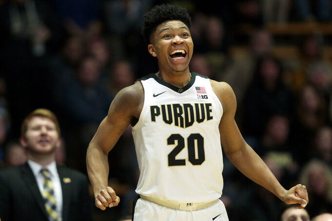 Purdue guard Nojel Eastern (20) reacts to a teammate's shot late in the second half of an NCAA college basketball game against Rutgers in West Lafayette, Ind., Tuesday, Jan. 15, 2019. Purdue won 89-54. (AP Photo/AJ Mast)