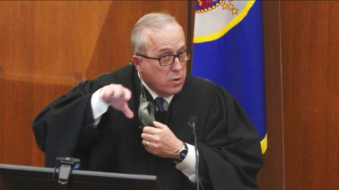 In this image taken from video, Hennepin County Judge Peter Cahill presides Thursday, April 8, 2021, in the trial of former Minneapolis police Officer Derek Chauvin at the Hennepin County Courthouse in Minneapolis, Minn. Chauvin is charged in the May 25, 2020 death of George Floyd. (Court TV via AP, Pool)