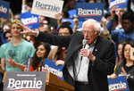 Democratic presidential candidate U.S. Sen. Bernie Sanders, I-Vt., speaks to supporters during a rally at Belk Theater at Blumenthal Performing Arts in Charlotte, N.C., Friday, Feb. 14, 2020. (David Foster III/The Charlotte Observer via AP)