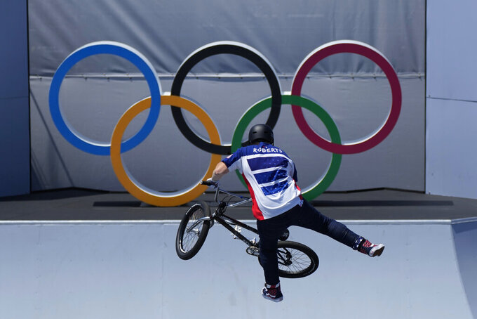 Hannah Roberts of the United States competes in the women's BMX freestyle final at the 2020 Summer Olympics, Sunday, Aug. 1, 2021, in Tokyo, Japan. (AP Photo/Ben Curtis)