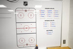 The Washington Capitals lineup is displayed on a whiteboard in the visitors locker room, Thursday, March 12, 2020, in Washington. The Capitals were to host the Detroit Red Wings Thursday evening until the league, following the NBA's lead, suspended the season Thursday amid the coronavirus outbreak. (AP Photo/Nick Wass)