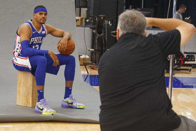 Philadelphia 76ers' Tobias Harris poses for a photograph during media day at the NBA basketball team's practice facility, Monday, Sept. 30, 2019, in Camden, N.J. (AP Photo/Chris Szagola)