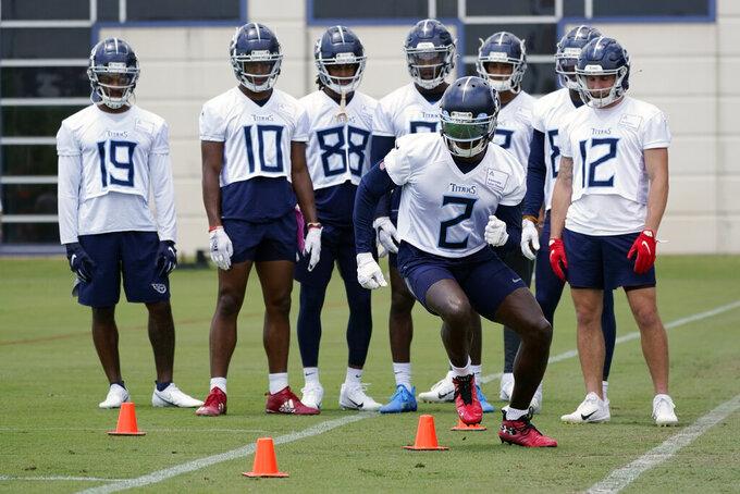 Tennessee Titans wide receiver Julio Jones (2) runs a drill during an NFL football minicamp Wednesday, June 16, 2021, in Nashville, Tenn. (AP Photo/Mark Humphrey, Pool)