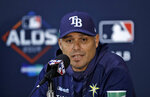 Tampa Bay Rays manager Kevin Cash answers a question during a news conference Sunday, Oct. 6, 2019, in St. Petersburg, Fla. The Rays take on the Houston Astros in Game 3 of a baseball American League Division Series on Monday. (AP Photo/Chris O'Meara)
