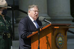 Former Gov. John H. Sununu speaks at a memorial service for former Gov. Steve Merrill outside the Statehouse on Friday, Sept. 11, 2020, in Concord, N.H. Merrill, a Republican who served two terms in the 1990s, died Sept. 5 at age 74. (AP Photo/Holly Ramer)