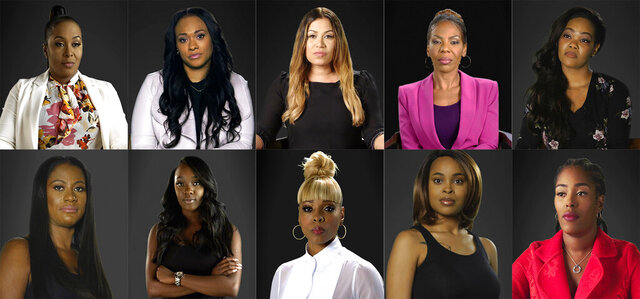 This combination of photos provided by Lifetime shows, top row from left, Michelle Kramer, Lisa VanAllen, Lizzette Martinez, Andrea Kelly and Kitti Jones, bottom row from left, Asante McGee, Faith Rodgers, Stephanie