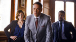 This image released by NBC shows, from left, Caitlin McGee, Jimmy Smits and Michael Luwoye in a scene from