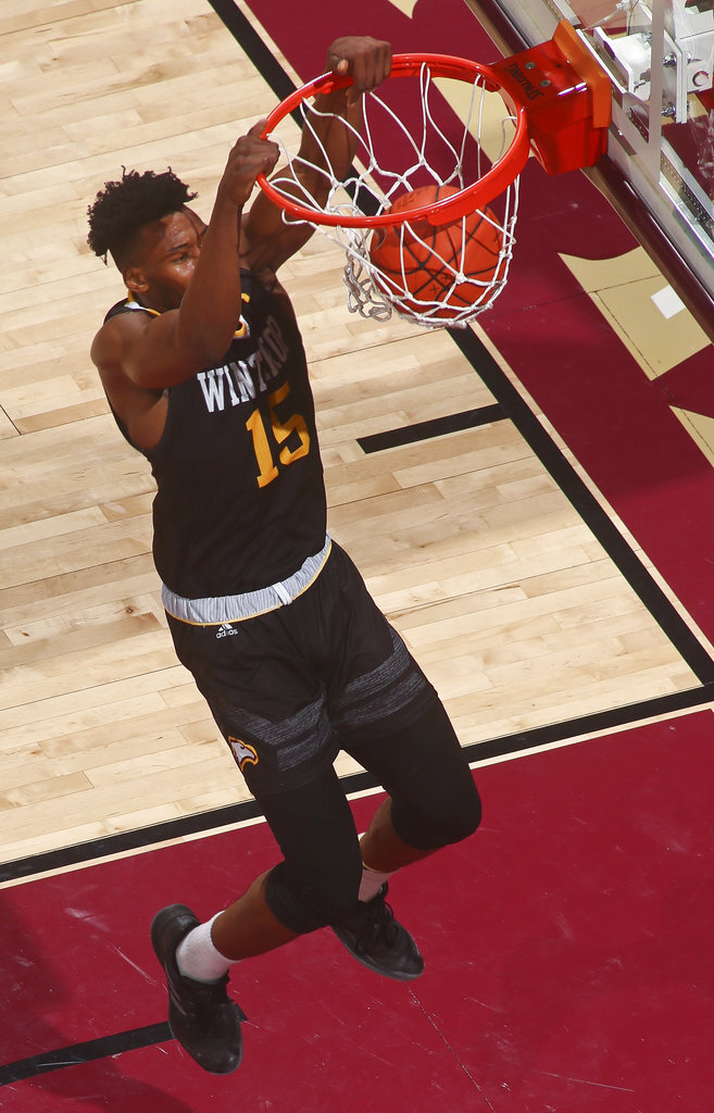 Winthrop forward Jermaine Ukaegbu (15) dunks the ball in the first half of an NCAA college basketball game in Tallahassee, Fla., Tuesday, Jan. 1, 2019. Florida State won 87-76. (AP Photo/Phil Sears)