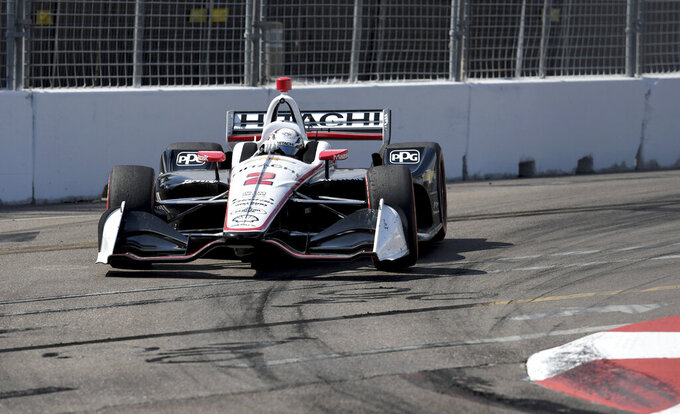 Team Penske driver Josef Newgarden (2), of the United States, drives through turn ten during the IndyCar Firestone Grand Prix of St. Petersburg (Fla.) auto race Sunday, March 10, 2019, in St Petersburg, Fla. (AP Photo/Jason Behnken)