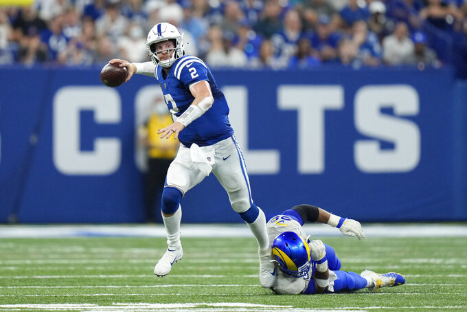 Indianapolis Colts quarterback Carson Wentz (2) during the second half of an NFL football game, Sunday, Sept. 19, 2021, in Indianapolis. (AP Photo/AJ Mast)
