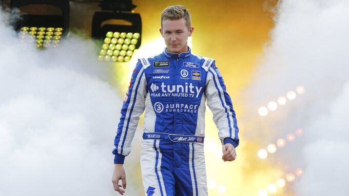 Matt Tiff during driver introductions prior to the start of the NASCAR Cup series auto race at Richmond Raceway in Richmond, Va., Saturday, April 13, 2019. (AP Photo/Steve Helber)