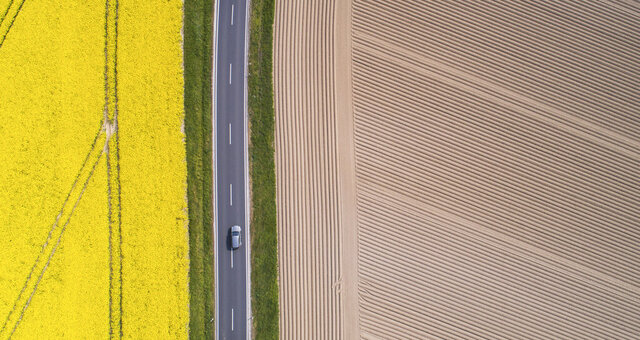 A lorry drives along a country road that between a flowering rape field and a freshly tilled field in Pattensen, Germany, Tuesday, April 28, 2020. (Julian Stratenschulte/dpa via AP)
