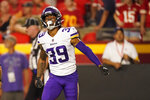 Minnesota Vikings cornerback Parry Nickerson celebrates after running an interception back for a touchdown during the second half of a preseason NFL football game against the Kansas City Chiefs Friday, Aug. 27, 2021, in Kansas City, Mo. (AP Photo/Charlie Riedel)