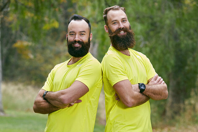 In this 2018 photo provided by CBS, professional volleyball brothers Maddison McKibbin, left, and Riley McKibbin pose for a photo in Los Angeles. The brothers will be competing on The Amazing Race travel challenge reality show that premiers for its 32nd season on Oct. 14, 2020. (Sonja Flemming/CBS via AP)