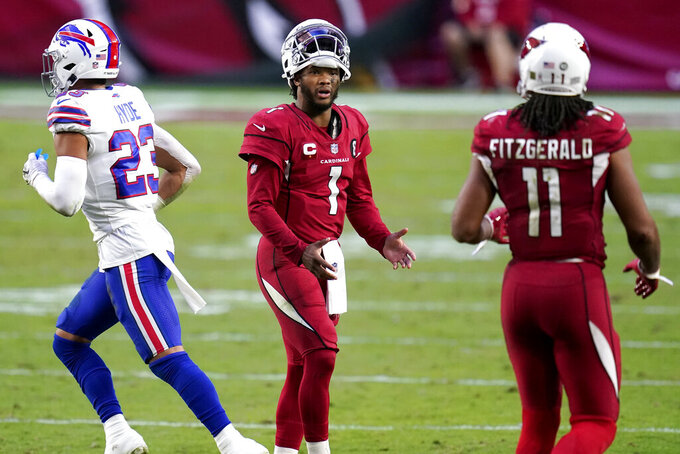 Arizona Cardinals quarterback Kyler Murray (1) talks with wide receiver Larry Fitzgerald (11) after a miscommunication during the second half of an NFL football game against the Buffalo Bills, Sunday, Nov. 15, 2020, in Glendale, Ariz. (AP Photo/Ross D. Franklin)