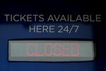Ticket windows are closed at Kauffman Stadium, home of the Kansas City Royals baseball team, Wednesday, March 25, 2020, in Kansas City, Mo. The start of the regular season, which was set to start on Thursday, is on hold indefinitely because of the coronavirus pandemic. (AP Photo/Charlie Riedel)
