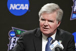 FILE - In this April 4, 2019, file photo, NCAA President Mark Emmert answers questions at a news conference at the Final Four college basketball tournament in Minneapolis. Emmert is now the second-longest tenured leader in the long history of the NCAA. Over 11 years, he has guided the NCAA through a period of unprecedented change amid relentless criticism.  (AP Photo/Matt York, File)