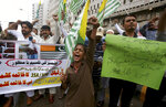 Supporters of a religious group Anjum-e-Tulba Islam chant anti-India slogans during a demonstration to condemn India and its decisions on Kashmir, in Karachi, Pakistan, Saturday, Aug. 10, 2019. Pakistan says that with the support of China, it will take up India's unilateral actions in the disputed region of Kashmir with the U.N. Security Council and may approach the U.N. Human Rights Commission over what it says is the