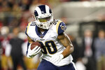 Los Angeles Rams running back Todd Gurley II carries against the San Francisco 49ers during the first half of an NFL football game in Santa Clara, Calif., Saturday, Dec. 21, 2019. (AP Photo/Tony Avelar)