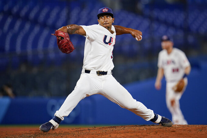 United States' Anthony Gose pitches during the seventh inning of a semi-final baseball game against South Korea at the 2020 Summer Olympics, Thursday, Aug. 5, 2021, in Yokohama, Japan. (AP Photo/Sue Ogrocki)