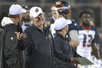 FILE - In this Feb. 9, 2019, file photo, Orlando Apollos coach Steve Spurrier reacts after a play during the second half of the team's Alliance of American Football game against the Atlanta Legends, in Orlando, Fla. The Alliance of American Football is suspending operations eight games into its first season. A person with knowledge of the decision tells The Associated Press the eight-team spring football league is not folding, but games will not be played this weekend. The decision was made by majority owner Tom Dundon. The person spoke to The Associated Press on condition of anonymity because league officials were still working through details of the suspension. An announcement from the league is expected later Tuesday, April 2, 2019.(AP Photo/Phelan M. Ebenhack, File)